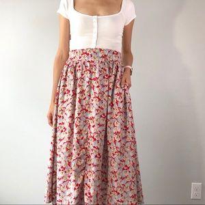 80's floral midi skirt